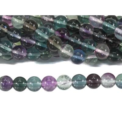 Fluorine Multicolore Perle Ronde Lisse Percée 8 mm (Lot de 10 perles)