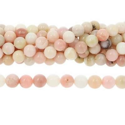Opale Rose Perle Ronde Lisse Percée 4 mm (Lot de 20 perles)