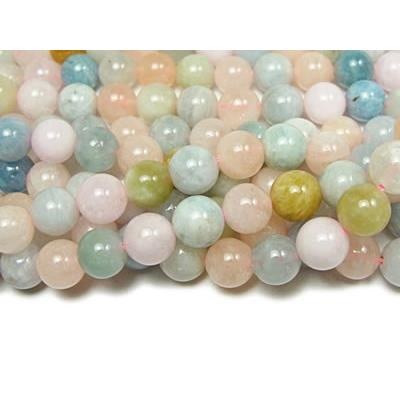 Morganite Perle Ronde Lisse percée 10 mm (Lot de 5 perles)